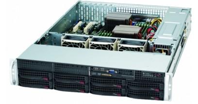 Корпус Supermicro CSE-825TQ-R720LPB, 2U, 8x3.5'' SAS/SATA HS + 2x3.5'', 1xCOM+2xUSB Front I/O, 1xSlim DVD-ROM, 3x8cm Fan, 720W(1+1) Redundant